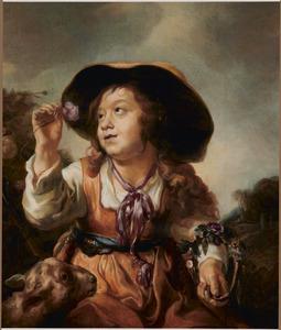 Jonge herderin met bloemen en een lam