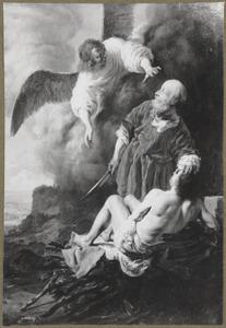 Een engel weerhoudt Abraham Isaac te offereen (Genesis 22:11)