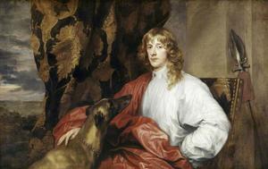 Portret van James Stuart, 4th Duke of Lennox and 1st Duke of Richmond (1612-1655), met zijn windhond