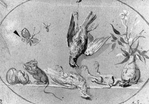 Stilleven met vogels en een muis