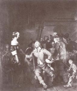 Elegant gezelschap van cavaliers en vrouwen in een interieur
