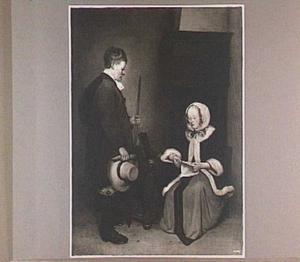 Brieflezende dame met boodschapper in interieur