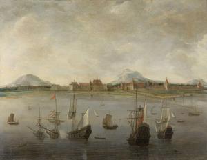 Schepen voor de kust bij Batavia