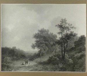 Heuvellandschap met landweg en rustende wandelaars