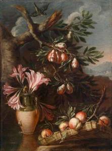 Stilleven van bloemen en vruchten in een landschap