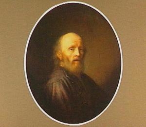 Portret van een baardige man met een kaal hoofd