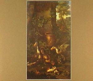 Eenden, kip, konijn en marmotten in een tuin, in de achtergrond een vos