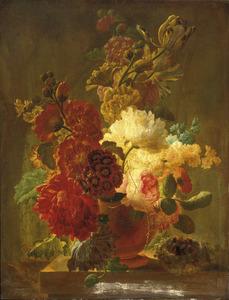 Stilleven met bloemen in een terracotta vaas, met een vogelnestje