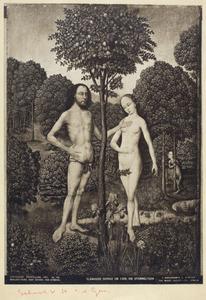 De zondeval: Adam tracht Eva the weerhouden de appel te plukken (Genesis 3:6)