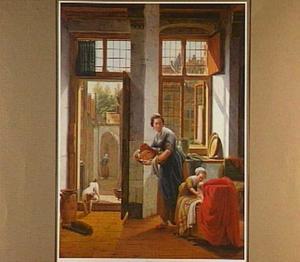 Interieur met een kind bij een wieg en een vrouw met een mand met brood