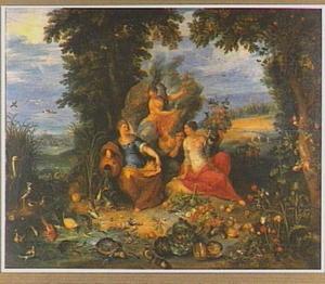 De vier elementen in een boslandschap met op de achtergrond de triomf van Galatea