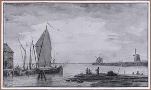 Kustgezicht met zeilboot en drie molens