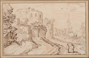 Gezicht op een dorp met een ruïne en twee monikken in de voorgrond