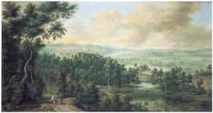 Uitgestrekt landschap met in de verte een klooster