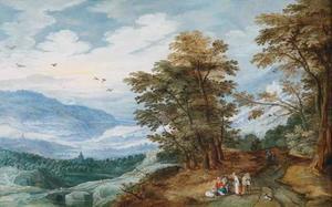 Weids landschap met reizigers rustend langs de kant van de weg