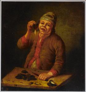 Een boer die mosselen eet
