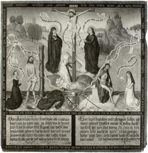Memorietafel met Calvarieberg en stichtersportret van Johanna Colijns