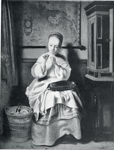 Jonge naaister in een interieur