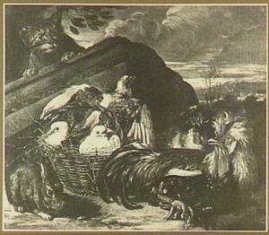 Kat op de loer bij een mand met duiven, linksvoor een konijn, rechts twee kippen