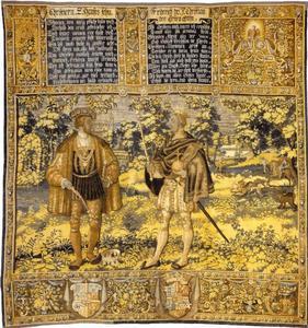 Christian II (1481-1559) en Frederick I (1471-1533) met jachtscenes in de achtergrond