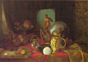 Stilleven met fruit, kunstvoorwerpen en een witte roos op een tafel