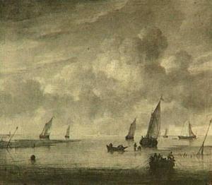 Riviermond met verschillende vaartuigen; rechts op de voorgrond een bemande visserssloep bij het binnenhalen der netten