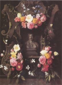Cartouche versierd met bloemenguirlandes met daarin een borstbeeld van Flora