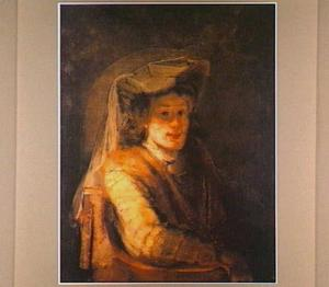 Portret van een onbekende man met een gesluierde hoed