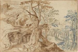 Rotslandschap met de heilige Hieronymus in de wildernis