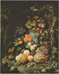 Stilleven met vruchten en dieren in een boslandschap