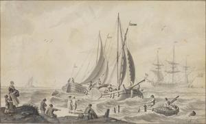 Kustgezicht met figuren en schepen