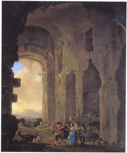Dansend gezelschap in een ruïne