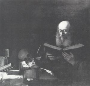 Een geleerde lezend, omgeven door boeken en een schedel