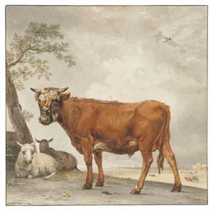 Stier en twee schapen in een landschap