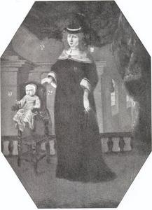 Portret van Anne Rosenkrantz Holgersdatter (1619-1688) en haar zoon Niels (1653-1713) op driejarige leeftijd