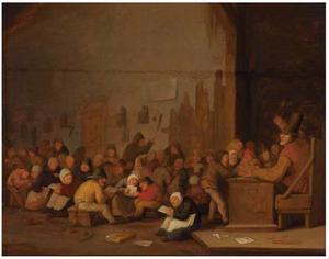 Schoolklas met lezende kinderen en rechts een straffende schoolmeester