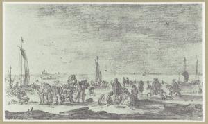 Vissers en ruiters op het strand