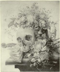 Vanitas-stilleven met bloemenkrans, schedel, viool en bladmuziek