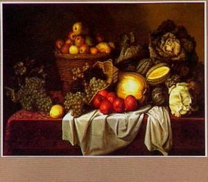 Vruchten- en groentestilleven op een tafel met een oosters kleed