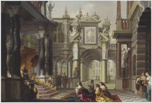 Binnenplaats van een paleis met de koningin van Seba voor Salomo (1 Koningen 10:1-13)