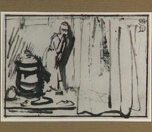 Afluisterend dienstmeisje naast een half weggeschoven gordijn