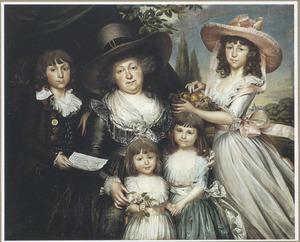 Groepsportret van  de Antwerpse weduwe Françoise-Jacqueline Peeters D'Aertselaer (1751-1805) en vier van haar kinderen: François-Louis Guyot , Caroline Guyot, Jeanne Guyot en Sophie Guyot
