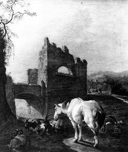 Landschap met schimmel en geiten bij een ruïne