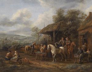 Figuren en paarden voor een herberg