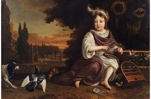 Portret van een kind in een parkachtig landschap met dieren