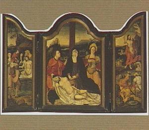 De graflegging (links), de bewening (midden), de opstanding (rechts)