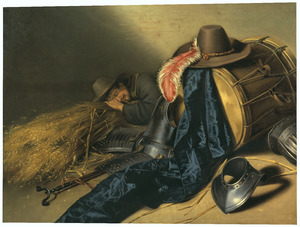 Op bos stro slapende man naast gevechtsuitrusting