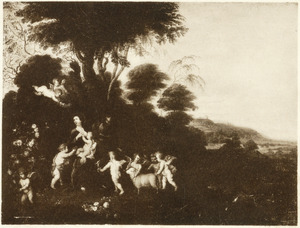 De H. Familie met Johannes de Doper als kind en putti in een landschap