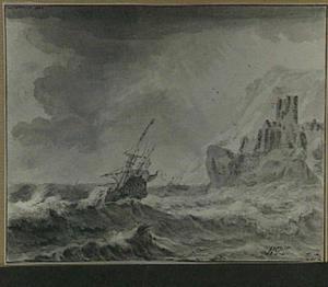 Schepen in een zware storm bij een rotsachtige kust