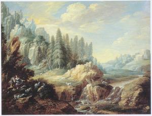 Berglandschap met geitenhoeders bij een waterval